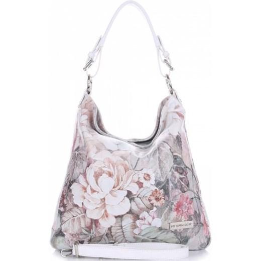 0cd25c3417018 VITTORIA GOTTI Made in Italy Modna Torebka Skórzana w Kwiaty Multikolorowa  Biała(kolory) bialy