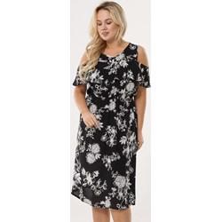 8a48eb9aad629 Sukienka czarna Born2be w kwiaty z krótkim rękawem midi