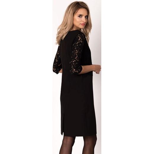 da94db3c9a Sukienka Avaro z długim rękawem z elastanu maxi czarna do pracy w Domodi