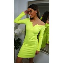 3e7068a3df Sukienka z elastanu z dekoltem typu hiszpanka z długimi rękawami na co dzień