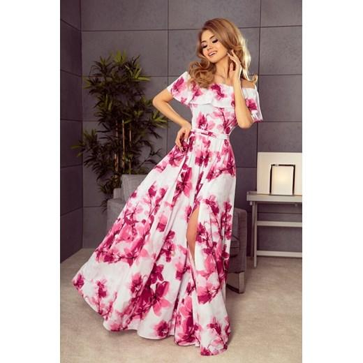 2e3c3a3640 Długa suknia z hiszpańskim dekoltem - duże różowe kwiaty Numoco XL wyprzedaż  Dejmieto ...