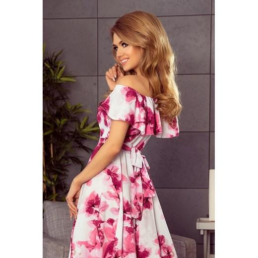 4ac7a88ce3 ... Długa suknia z hiszpańskim dekoltem - duże różowe kwiaty Numoco S  Dejmieto wyprzedaż ...