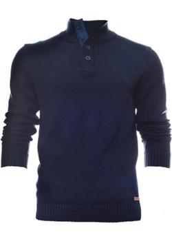 Granatowy sweter męski ze stójką zapinany na guziki  Just yuppi wyprzedaż NIREN  - kod rabatowy