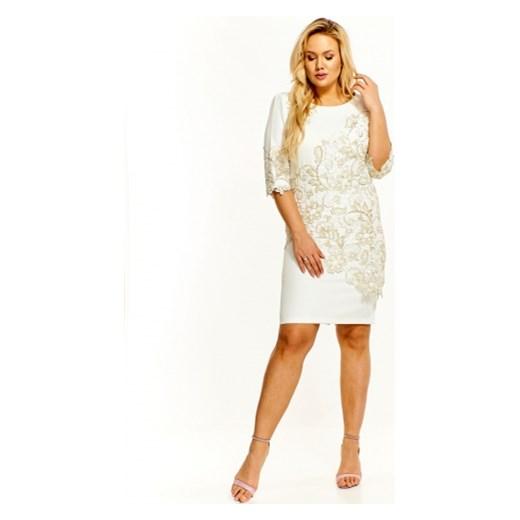 e5412c757b Sukienka biała Roxana ołówkowa z długim rękawem midi z okrągłym dekoltem