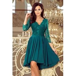 a8ed86f811a6 Sukienka Saf karnawałowa zielona z długim rękawem asymetryczna koronkowa