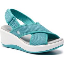10e7720ddec3 Sandały damskie niebieskie Clarks na rzepy na średnim obcasie z tworzywa  sztucznego na koturnie casualowe ...