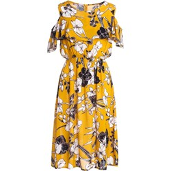 49a369c256 Sukienka żółta Born2be z krótkim rękawem z dekoltem typu hiszpanka