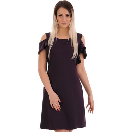9caf232c3f Lamar sukienka z krótkimi rękawami trapezowa z wiskozy z okrągłym dekoltem