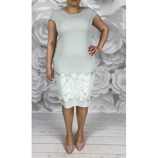 964a4cc35b Sukienka Dorota bez wzorów midi dla puszystych w Domodi