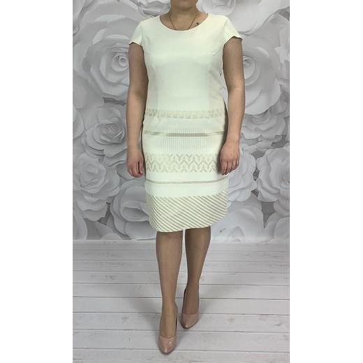 4e63359f01 Sukienka Dorota midi z tkaniny z okrągłym dekoltem prosta w Domodi