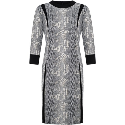 88e14c9c70 Szara sukienka Dorota midi z okrągłym dekoltem z długim rękawem na co dzień  bez wzorów casualowa