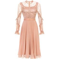 5f742634c0 Yoshe sukienka z okrągłym dekoltem midi różowa bez wzorów