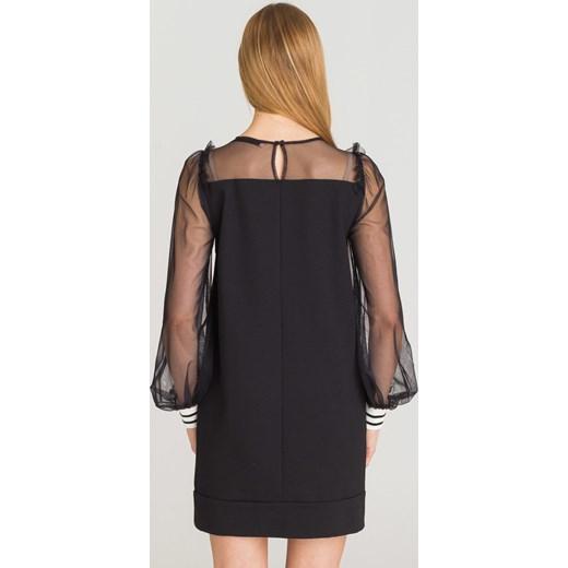 0f0b4e154d ... Sukienka czarna Twinset z długim rękawem mini z okrągłym dekoltem ...