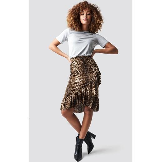 Spódnica NA-KD Trend na wiosnę midi w zwierzęce wzory Odzież Damska ZG brązowy Spódnice DISY 80% ZNIŻKI
