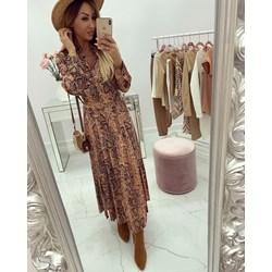 d5df230812 Sukienka w stylu boho maxi koszulowa z długimi rękawami