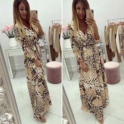 08eeb36765 Sukienka z długimi rękawami maxi boho kopertowa