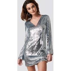 43d1eb38c7 Sukienka NA-KD w stylu glamour z długim rękawem na wiosnę mini