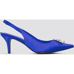 42e1388bb8c1e Czółenka niebieskie NA-KD Shoes eleganckie na szpilce ze szpiczastym  noskiem z niskim obcasem bez