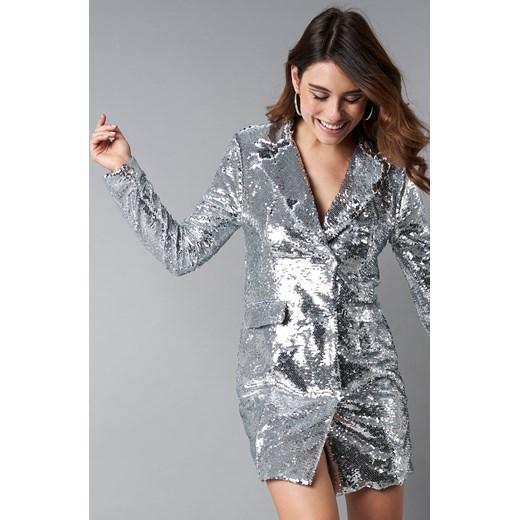 32ba774aea Sukienka NA-KD Party oversize srebrna mini z długim rękawem w Domodi