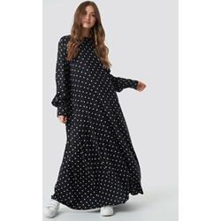 f8cdc2ffb5 Sukienka NA-KD Boho czarna oversize maxi z długim rękawem