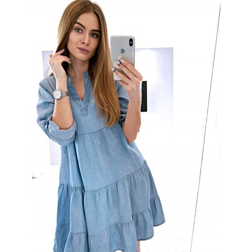7b06630a39 Sukienka Magmac trapezowa niebieska z długimi rękawami luźna w Domodi