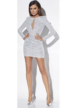 GLOW - SREBRNA SUKIENKA Z CEKINAMI  Lou Women`s Fashion Lou - kod rabatowy