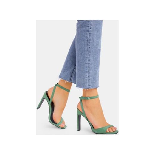 Sandały damskie zielone DeeZee gładkie na wysokim obcasie eleganckie Buty Damskie ZG zielony Sandały damskie NIKX