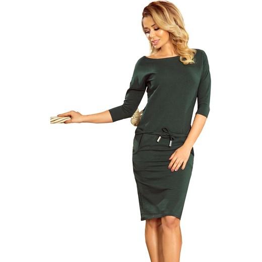 2c0ff02926 Sukienka zielona Numoco na spacer midi z długim rękawem bawełniana sportowa