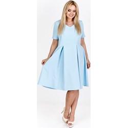 6cbf6d6364 Sukienka Filloo z krótkimi rękawami midi bez wzorów na wesele