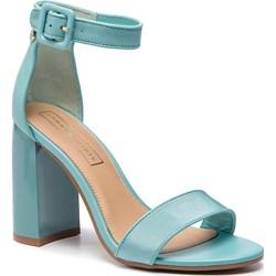 a636f351ad20a Tommy Hilfiger sandały damskie na obcasie niebieskie bez wzorów z klamrą na  wysokim letnie ze skóry ...