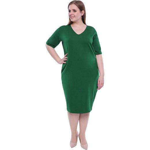 bcb8c62b1e Sukienka z długim rękawem dla puszystych do pracy midi w Domodi