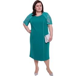 e55afdcf05 Modne Duże Rozmiary. Sukienka niebieska midi dla puszystych z krótkimi  rękawami