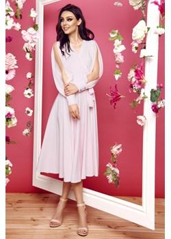 Sukienka z długimi rozciętymi rękawami L295 - pudrowy róż Lemoniade  lemoniade.pl - kod rabatowy
