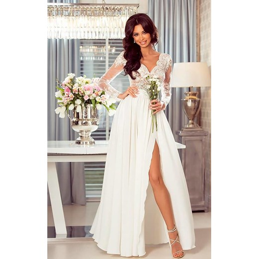 41813d9d17 Długa Sukienka LUNA koronkowa - Biały-beż Emo Sukienki L (40) wyprzedaż  Pawelczyk24