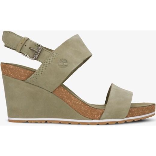 Zielone sandały damskie Timberland na koturnie