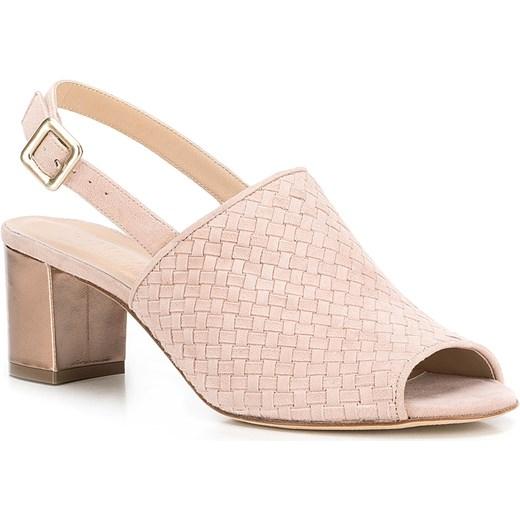 947153f5683a5 Różowe sandały damskie Wittchen na słupku z zamszu w Domodi