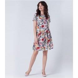 359b00660e Sukienka z okrągłym dekoltem na spacer z krótkim rękawem midi trapezowa