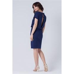 72aa937a96 Sukienka biznesowa z bawełny midi z krótkimi rękawami z okrągłym dekoltem