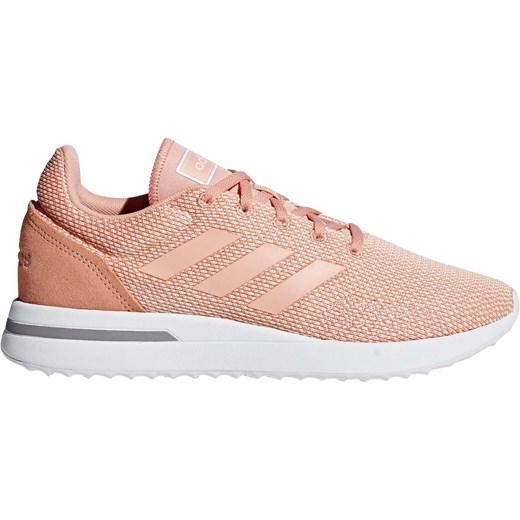 Różowe buty sportowe damskie Adidas bez wzorów wiązane płaskie