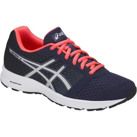 Niebieskie buty sportowe damskie Asics dla biegaczy płaskie