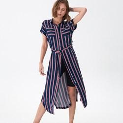 15d67c1aa8 Sukienka House midi w paski szmizjerka z krótkimi rękawami na co dzień