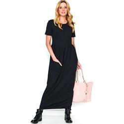 0115f14e85 Czarna sukienka Nunu z krótkim rękawem na spacer elegancka dresowa prosta  gładka