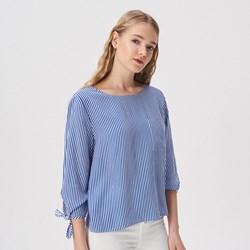 8dc4fce7b9aa Bluzka damska niebieska Sinsay w paski z długim rękawem z okrągłym dekoltem