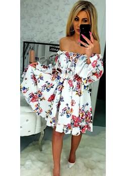 PERFEKCYJNA biała sukienka w kwiaty Burciaga Butik   - kod rabatowy