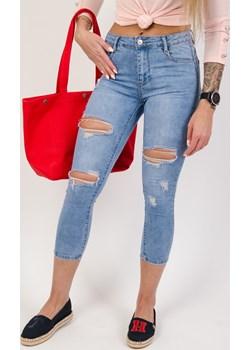 Spodnie jeansowe push up z dziurami,7/8 Olika  olika.com.pl - kod rabatowy