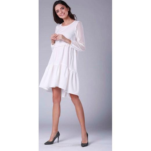 064f207b Sukienka Nommo prosta biała na co dzień midi z okrągłym dekoltem