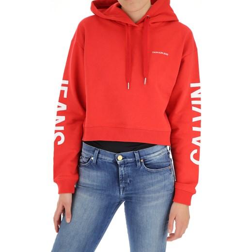 544821332492e Bluza damska Calvin Klein krótka z bawełny  Bluza damska czerwona Calvin  Klein ...