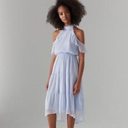 eab116b627 Mohito sukienka z szyfonu midi bez wzorów z krótkim rękawem