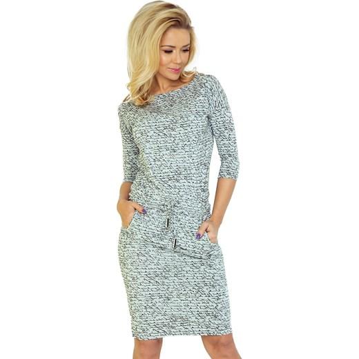 3b14b5c548 Numoco sukienka szara na spacer w abstrakcyjnym wzorze w Domodi