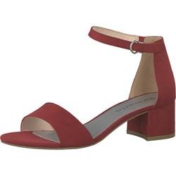 10ff79b1af4243 Czerwone sandały damskie Tamaris eleganckie letnie bez wzorów z klamrą na  obcasie skórzane